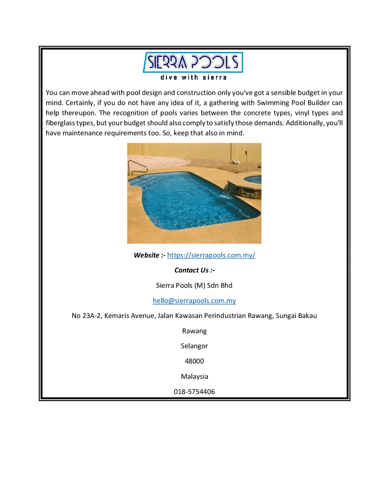 Sierra Pools (M) Sdn Bhd Products Catalogue